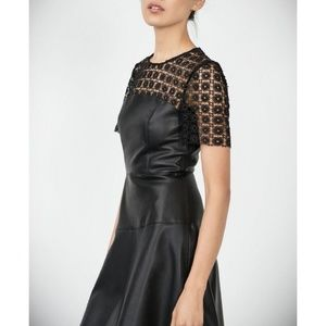 ZARA Black Faux Leather Lace Crochet Mini Dress